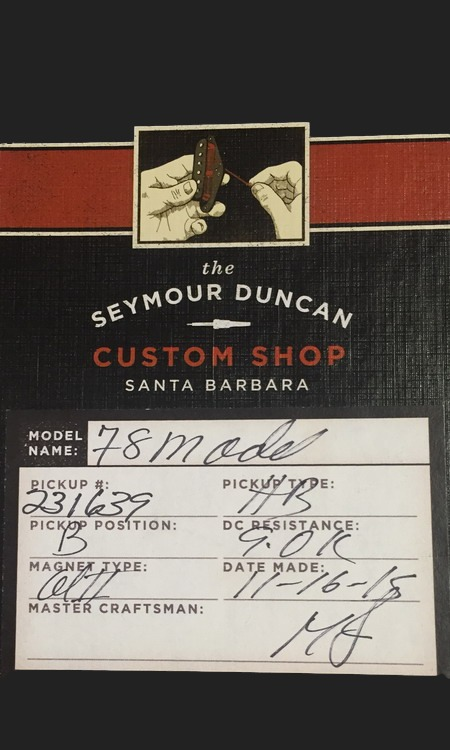 SEYMOUR DUNCAN CUSTOM SHOP 78 MODEL HUMBUCKER BRIDGE 4 COND.