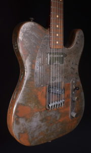 JAMES TRUSSART STEELCASTER RUSTY HOLEY BACK GANJA ENGRAVED PICKGUARD